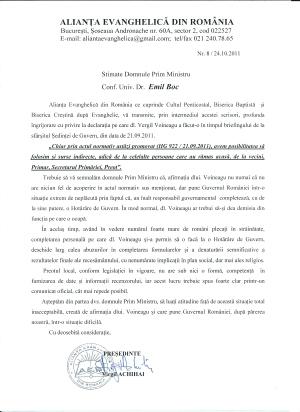 ALIANTA EVANGHELICA DIN ROMANIA SE ADRESEAZA PRIMULUI MINISTRU EMIL BOC PRIVIND RISCUL DENATURARII REZULTATELOR RECENSAMANTULUI DIN OCTOMBRIE 2011