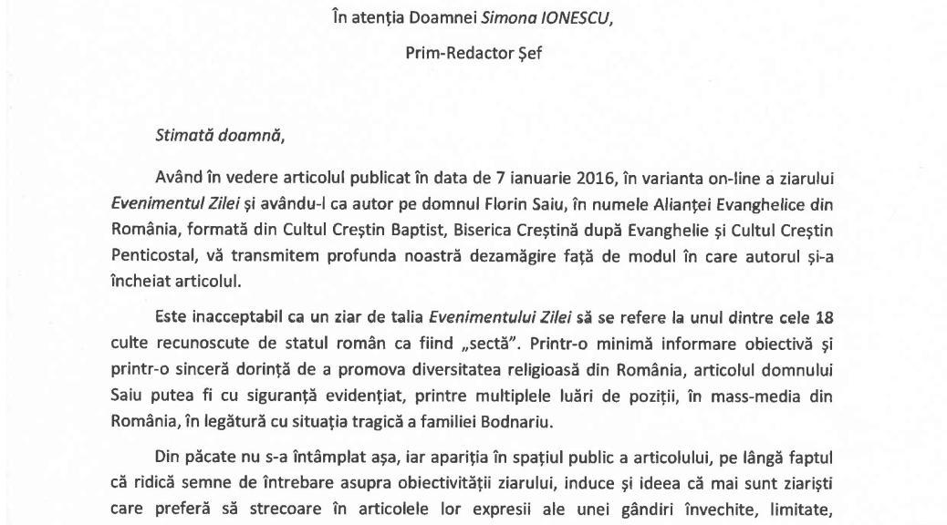 ALIANTA EVANGHELICA DIN ROMANIA ACUZA PUBLICATIA EVENIMENTUL ZILEI CA A JIGNIT BISERICA PENTICOSTALA SI A DEZINFORMAT CITITORII ROMANI