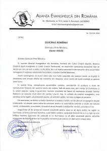 ALIANTA EVANGHELICA DIN ROMANIA APRECIAZA DECIZIA GUVERNULUI CIOLOS DE A SE IMPLICA IN SOLUTIONAREA FAVORABILA A CAZULUI BODNARIU
