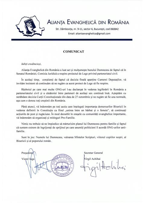 COMUNICAT REFERITOR LA RESPINGEREA ÎN COMISIA JURIDICĂ A SENATULUI A PARTENERIATULUI CIVIL ÎNTRE PERSOANE DE ACELAȘI SEX