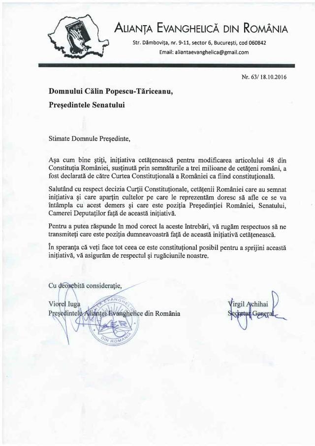 ALIANTA EVANGHELICA SOLICITA SENATULUI ROMANIEI SA-SI PREZINTE PUBLIC POZITIA PRIVIND INITIATIVA LEGISLATIVA CONSTITUTIONALA A COALITIEI PENTRU FAMILIE PENTRU DEFINIREA CASATORIEI CA FIIND UNIUNEA INTRE UN BARBAT SI O FEMEIE