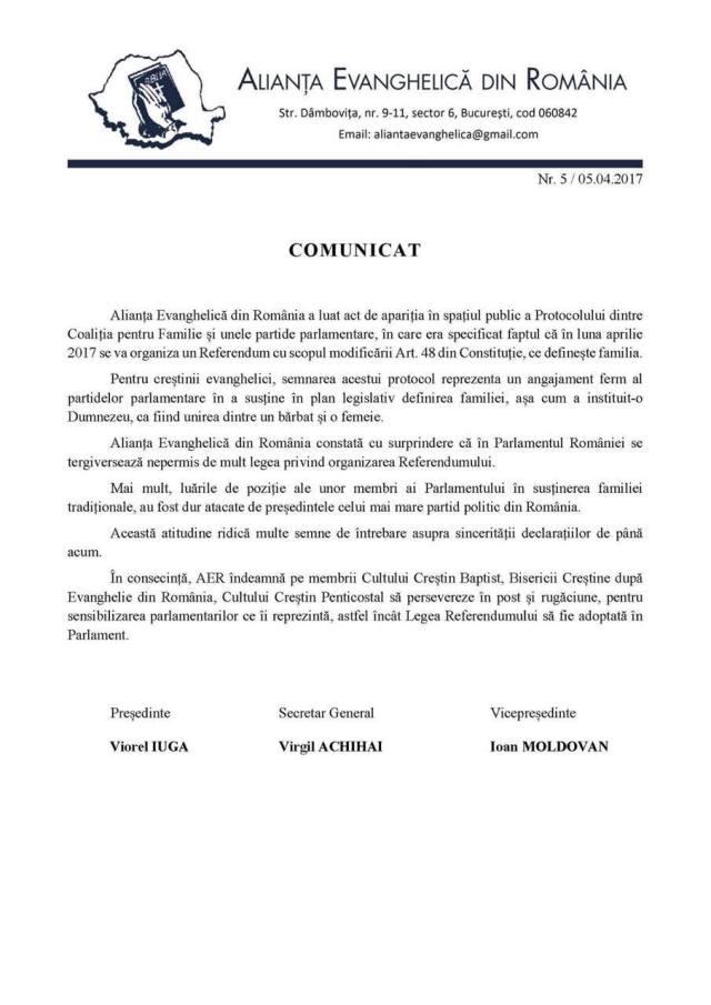 ALIANȚA EVANGHELICĂ DIN ROMÂNIA CONSTATĂ CĂ PARLAMENTARII TERGIVERSEAZA APROBAREA REFERENDUMULUI PENTRU DEFINIREA CORECTA A FAMLIEI CA FIIND UNIUNEA DINTRE UN BARBAT SI O FEMEIE