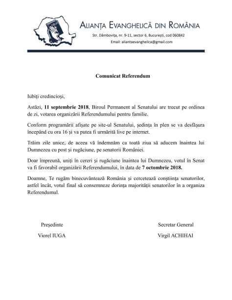 CERERE POST SI RUGACIUNE PENTRU CA SENATORII ROMANIEI SA VOTEZE ORGANIZAREA REFERENDUMULUI PENTRU FAMILIE